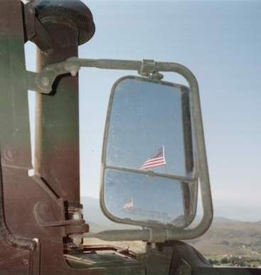 641 Flag in rear view mirror.