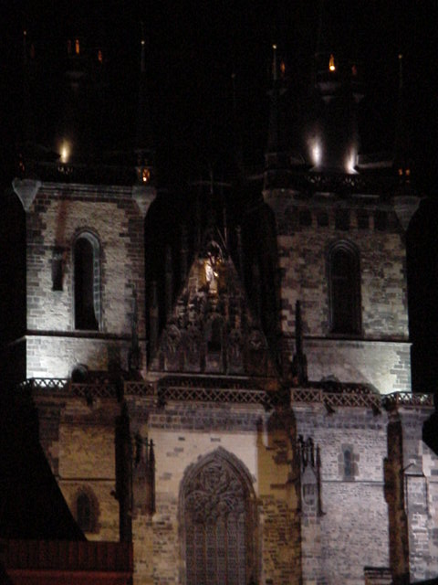 Tyn Church at night.