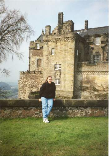 Holly in front of Stirling Castle